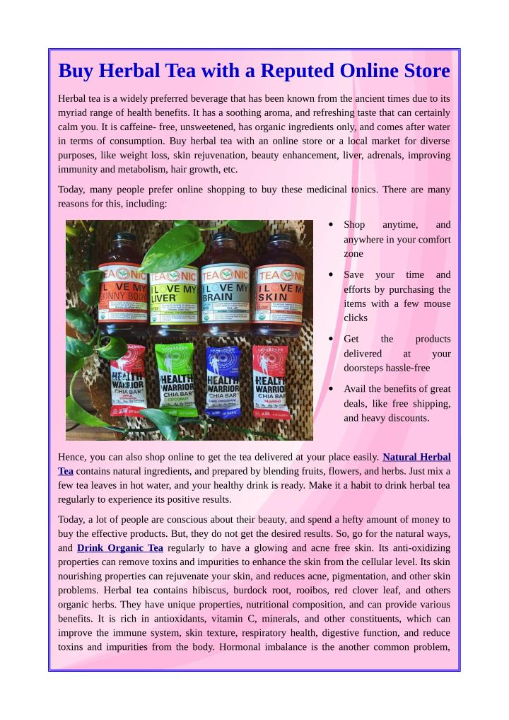 Buy Herbal Tea with a Reputed Online Store