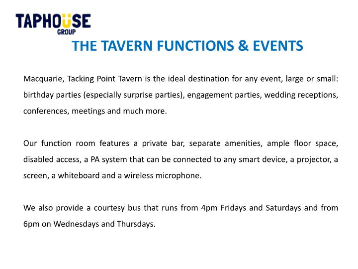 THE TAVERN FUNCTIONS & EVENTS