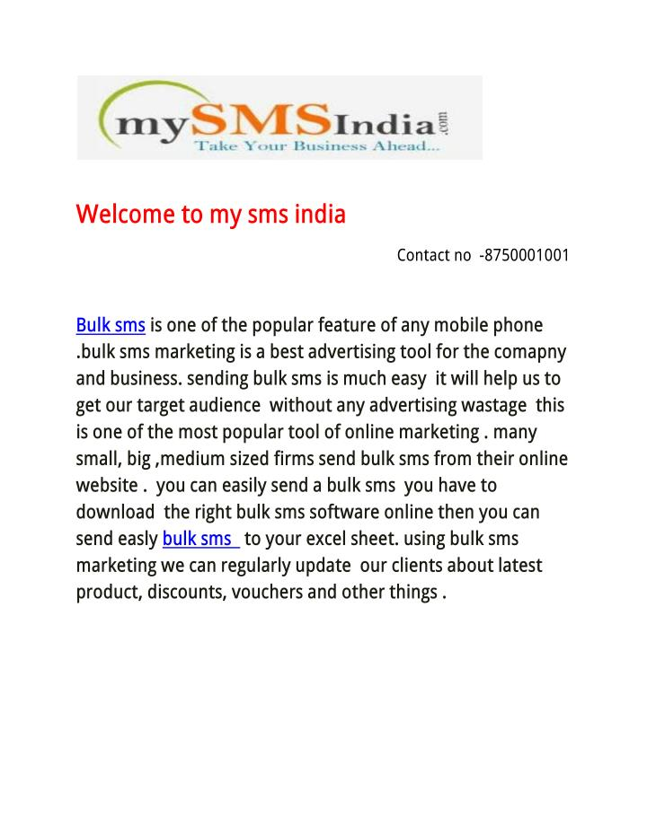 Welcome to my sms india