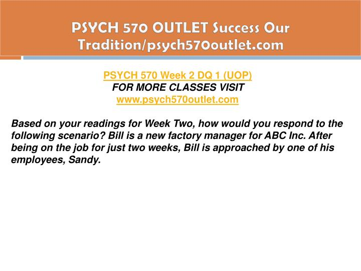 PSYCH 570 OUTLET Success Our Tradition/psych570outlet.com