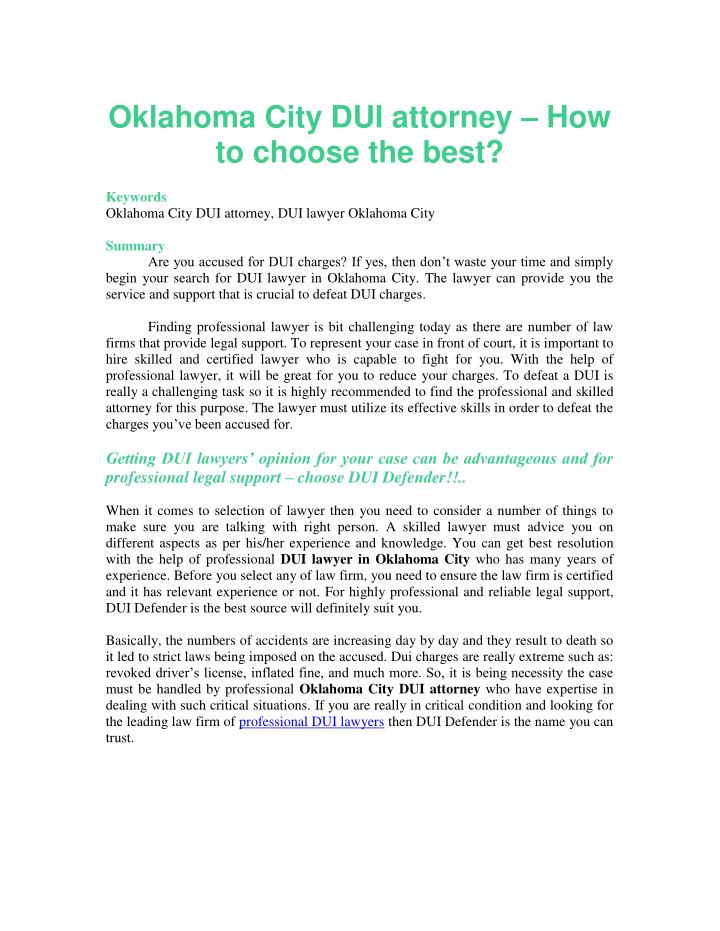 Oklahoma City DUI attorney