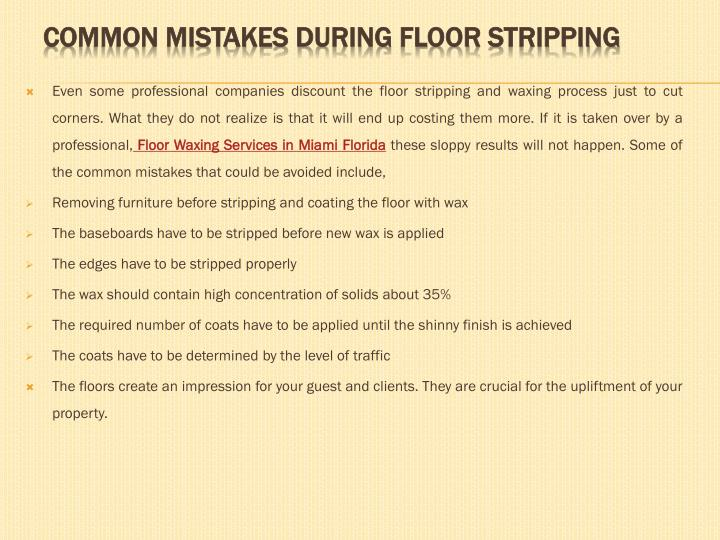 Common mistakes d uring f loor s tripping