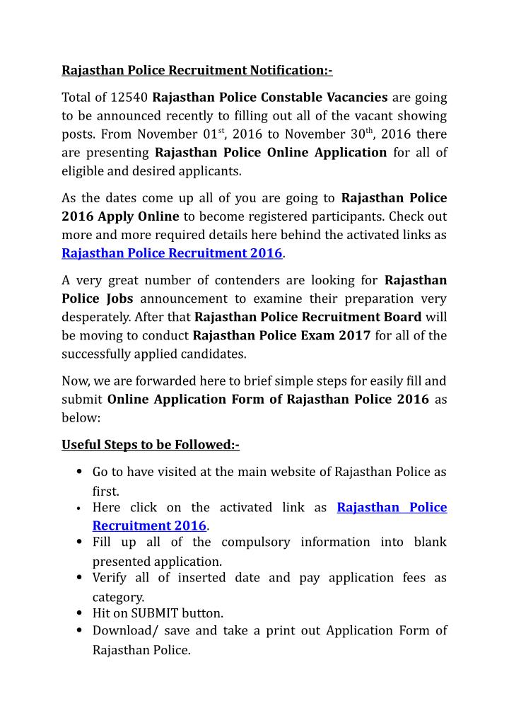 Rajasthan Police Recruitment Notification:-