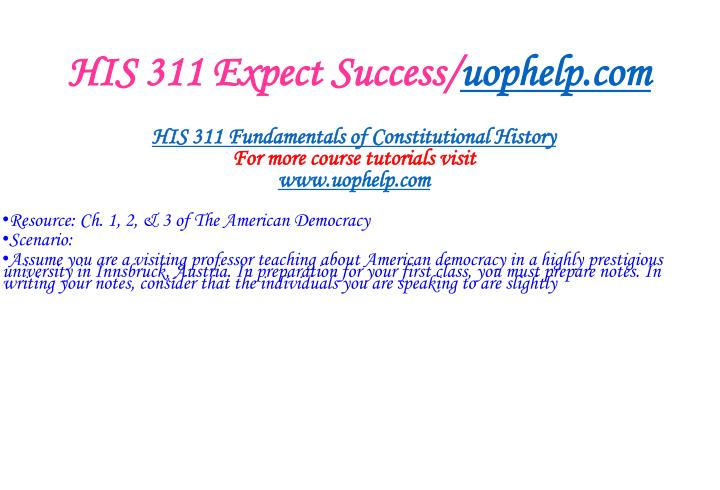 His 311 expect success uophelp com1