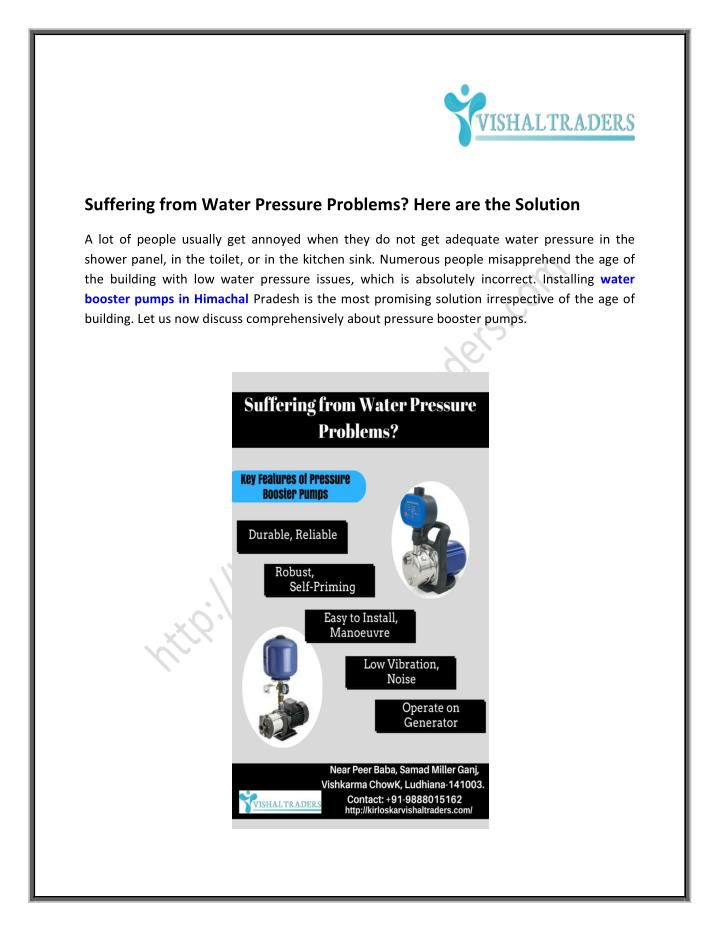 Suffering from Water Pressure Problems? Here are the Solution