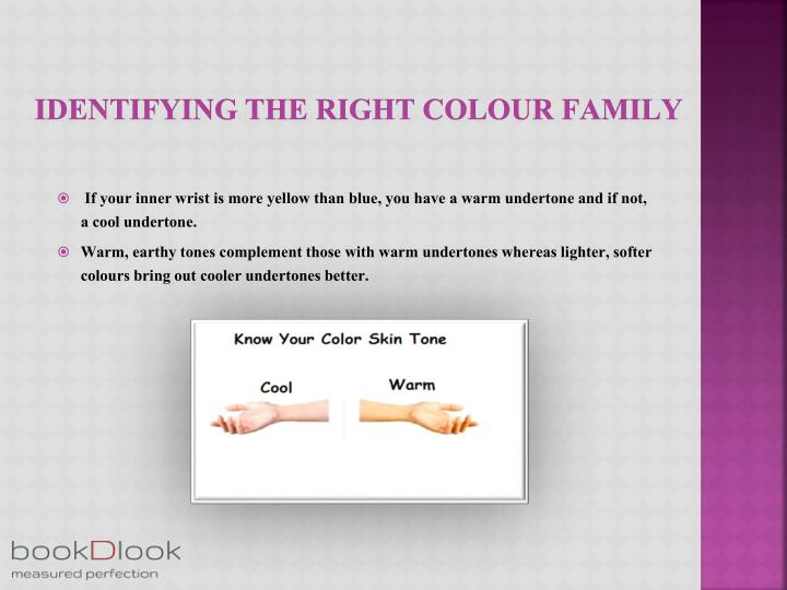 Identifying the right colour family