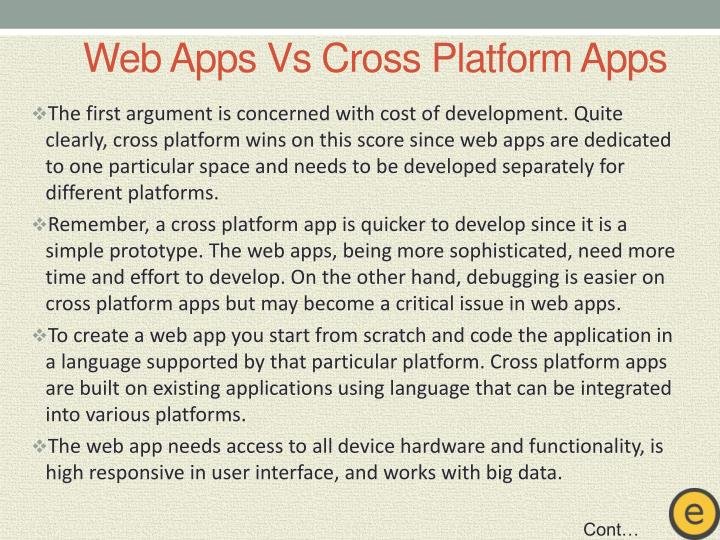 Web app s vs cross platform apps