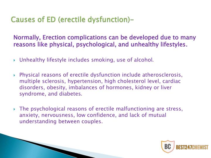 Causes of ed erectile dysfunction