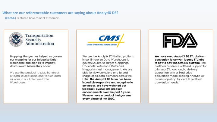 What are our referenceable customers are saying about AnalytiX DS?