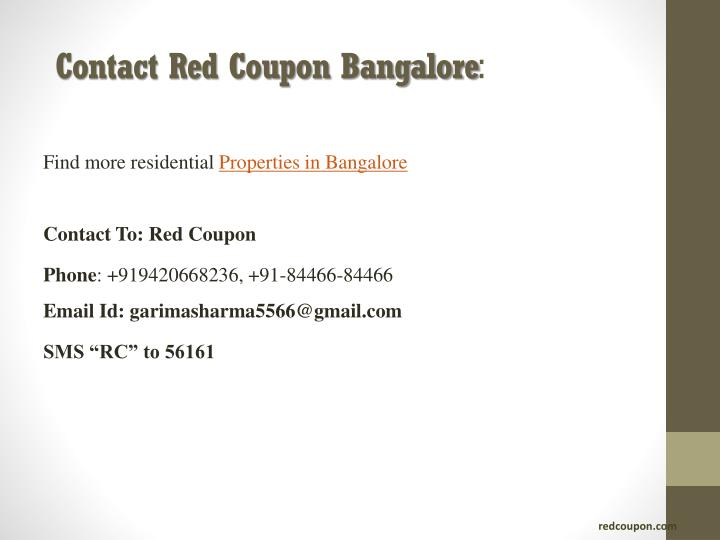 Contact Red Coupon Bangalore