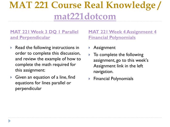 MAT 221 Course Real Knowledge /