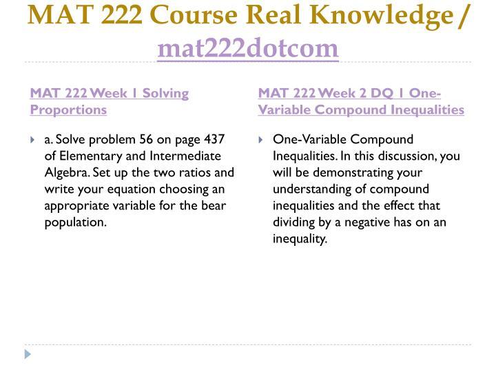 Mat 222 course real knowledge mat222dotcom2