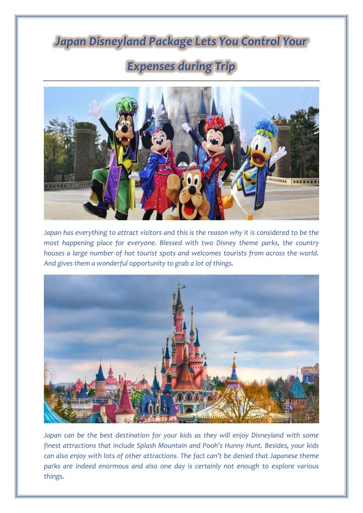 Japan Disneyland Package Lets You Control Your