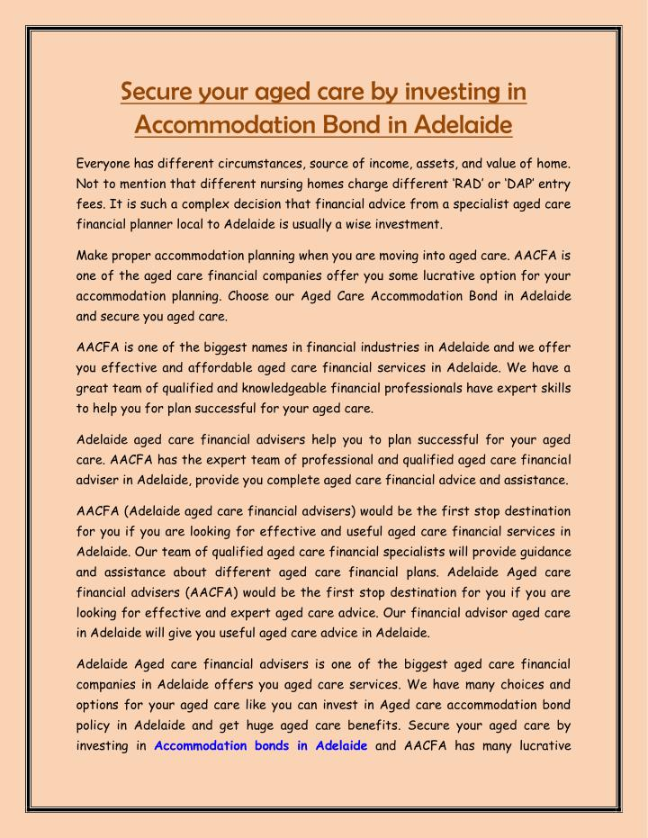 Secure your aged care by investing in