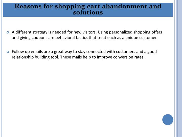 Reasons for shopping cart abandonment and solutions
