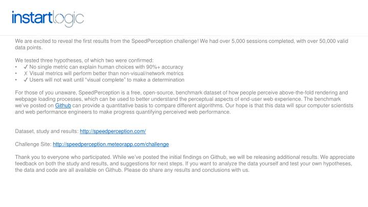 We are excited to reveal the first results from theSpeedPerceptionchallenge! We had over 5,000 s...