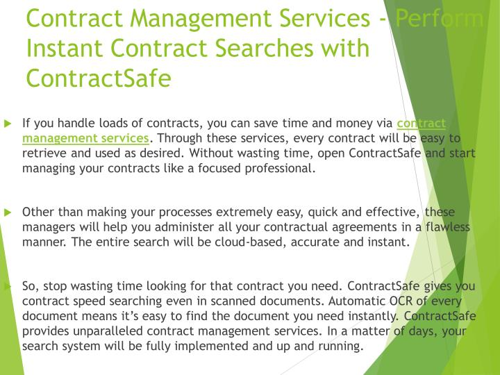 Contract Management Services - Perform