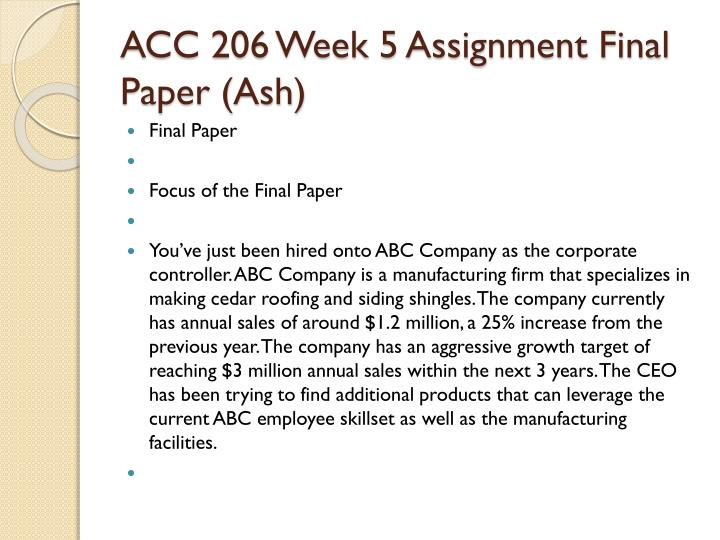 acc 206 week 5 assignment abc