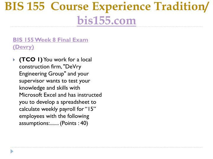 bis450 projectweek8 final Xmgt 216 week 9 final project ethics program presentation mcbride financial solutions ashford mgt 450 week 2 dq 2 industry analysis ethc 445 week 8 final exam hca 270 entire course all dqs.