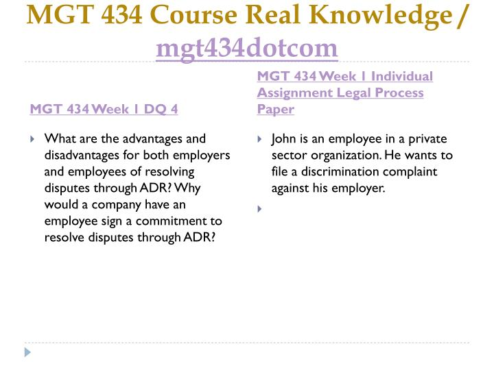 mgt 434 employment law legal process paper Mgt 434 week 5 union organizing case study (2 papers) new research labor laws and legal cases on.