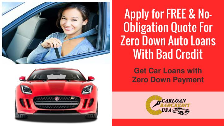 Car Loans Bad Credit Zero Down