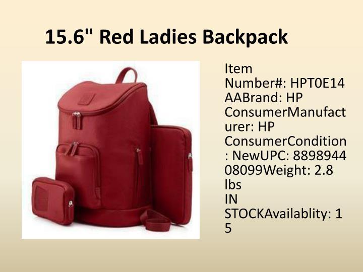 """15.6"""" Red Ladies Backpack"""