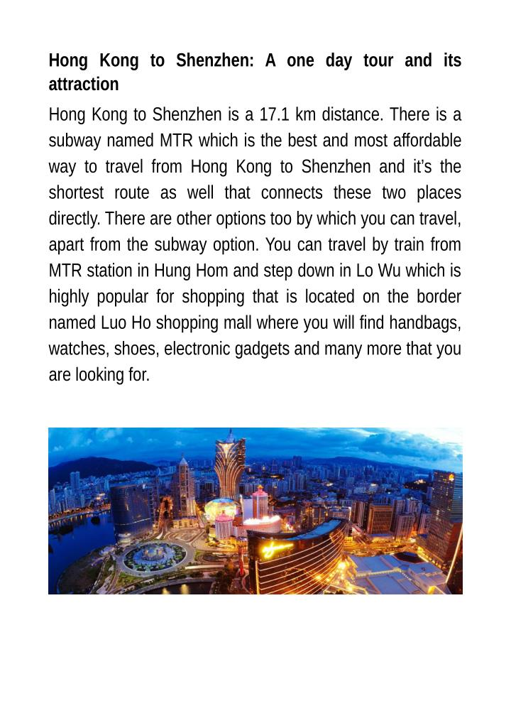 Hong Kong to Shenzhen: A one day tour and its