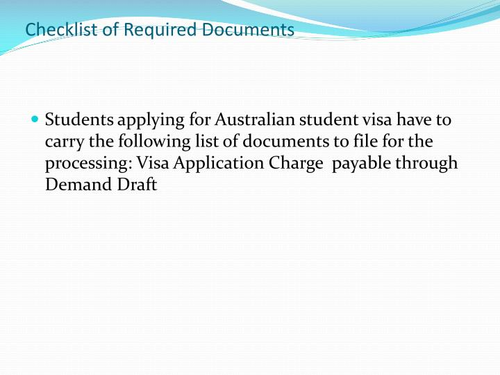 Checklist of Required Documents
