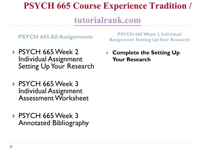 Psych 665 course experience tradition tutorialrank com1