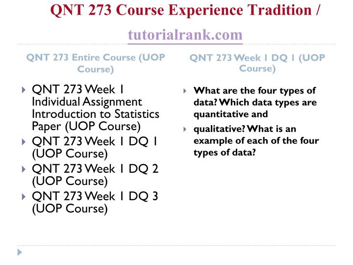 Qnt 273 course experience tradition tutorialrank com1