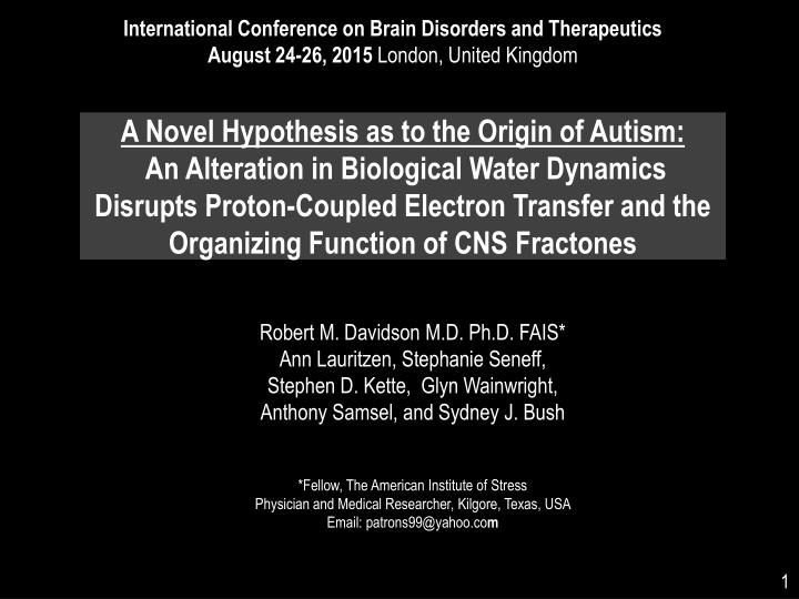International Conference on Brain Disorders and Therapeutics