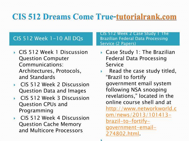 Cis 512 dreams come true tutorialrank com2