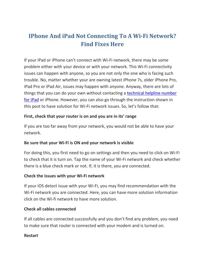 IPhone And iPad Not Connecting To A Wi-Fi Network?