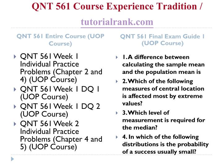 Qnt 561 course experience tradition tutorialrank com1