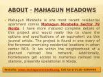 about mahagun meadows