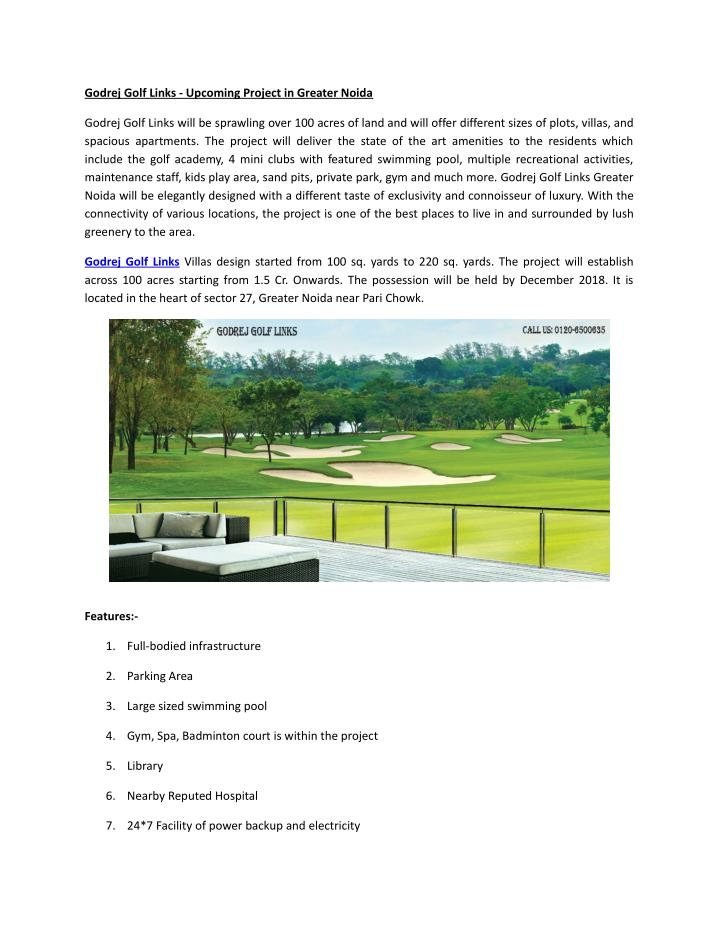 Godrej Golf Links - Upcoming Project in Greater Noida