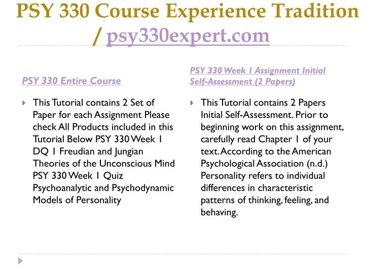 Psy 330 course experience tradition psy330expert com1