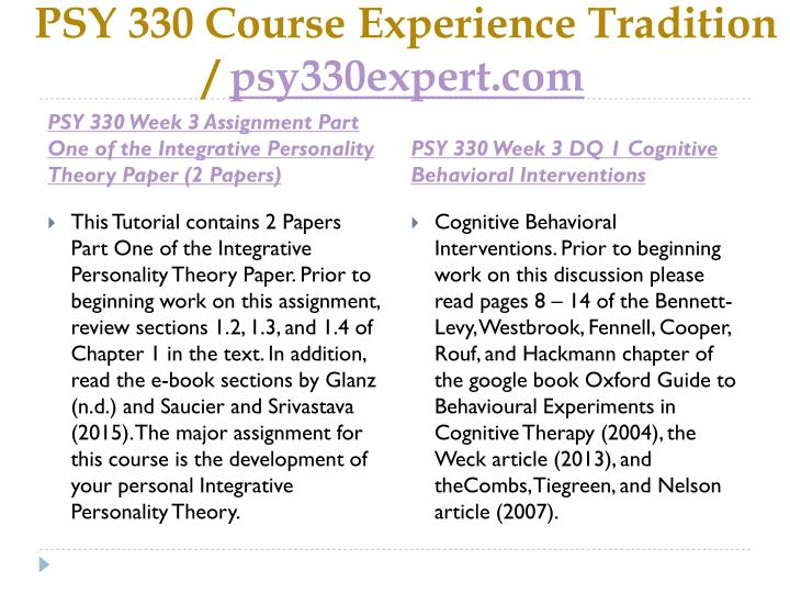PSY 330 Course