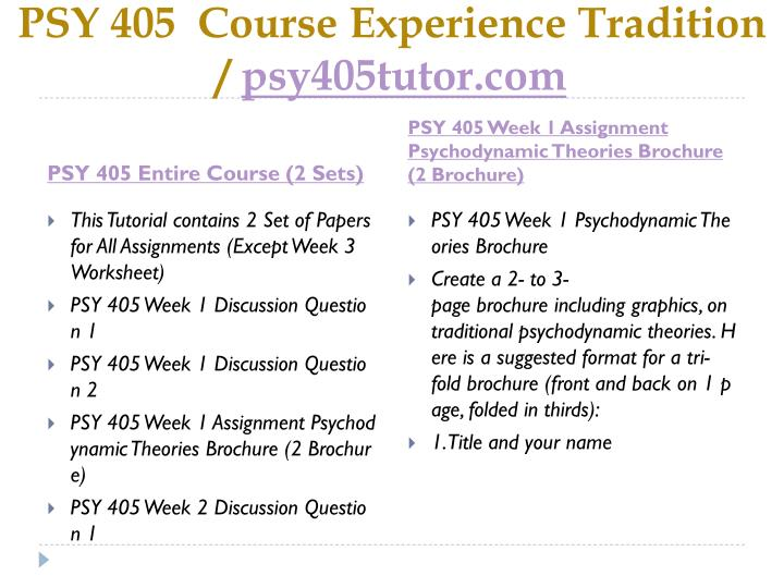 Psy 405 course experience tradition psy405tutor com1
