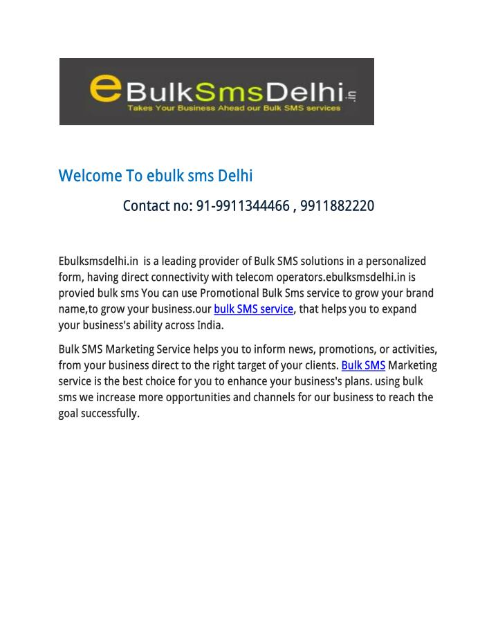Welcome To ebulk sms Delhi