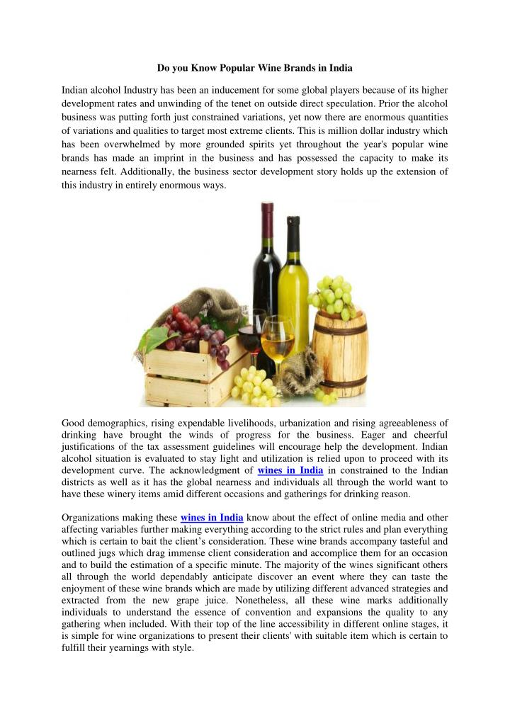 Do you Know Popular Wine Brands in India