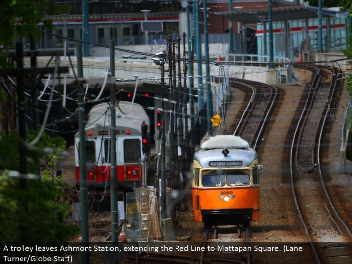 A trolley leaves Ashmont Station, extending the Red Line to Mattapan Square. (Path Turner/Globe Staff)