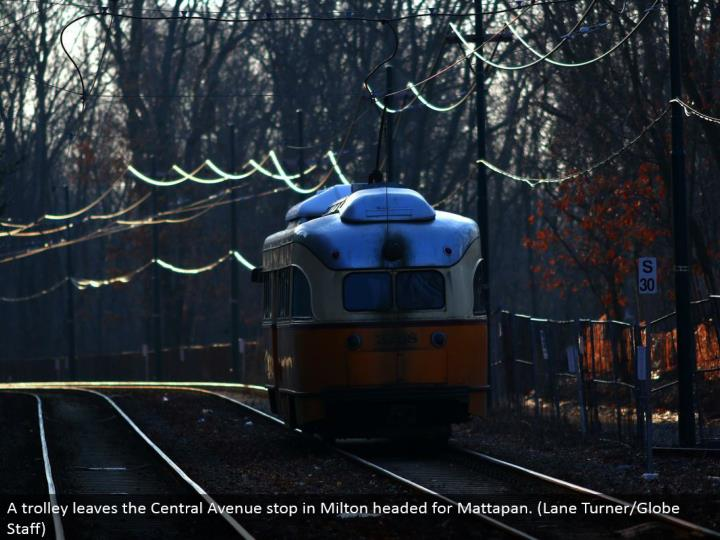 A trolley leaves the Central Avenue stop in Milton set out toward Mattapan. (Path Turner/Globe Staff)