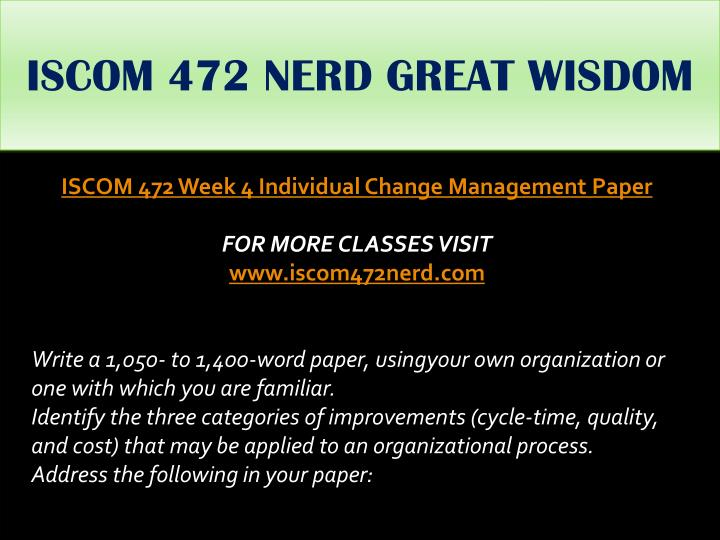 ISCOM 472 NERD GREAT WISDOM