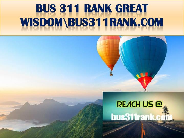 Bus 311 rank great wisdom bus311rank com
