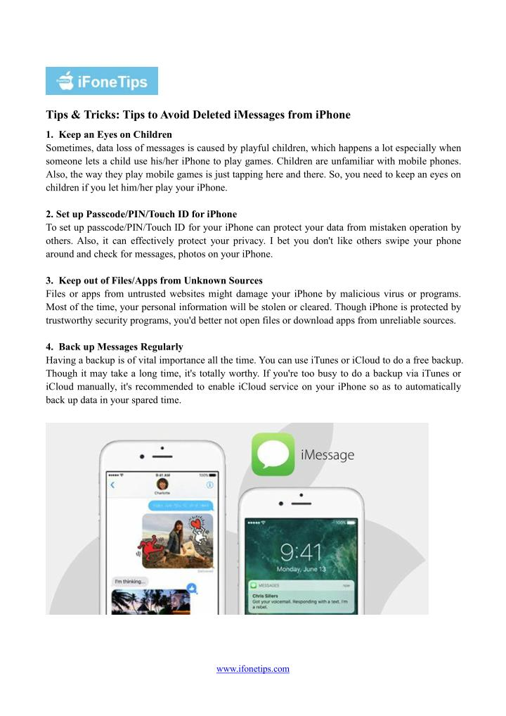 Tips & Tricks: Tips toAvoid Deleted iMessages from iPhone