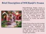 brief description of wh ranjit s svaasa