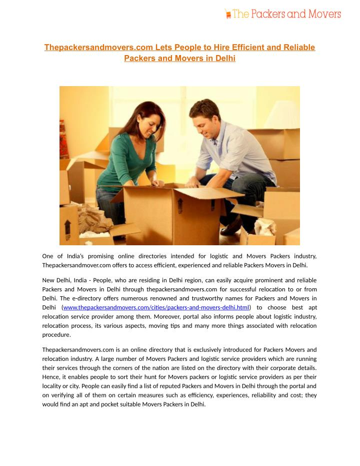 Thepackersandmovers.com Lets People to Hire Efficient and Reliable