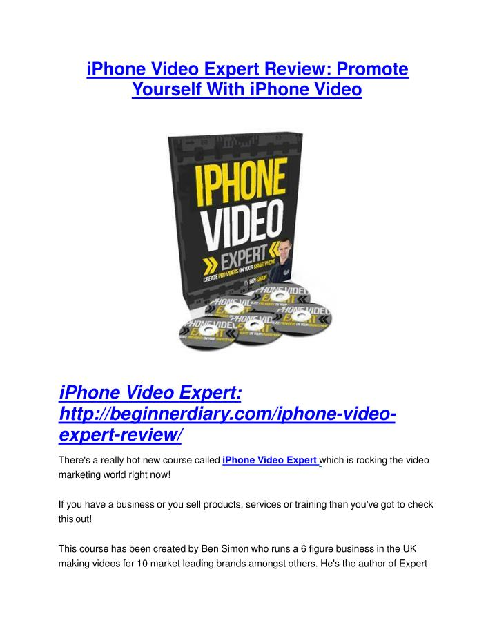 IPhone Video Expert Review: Promote