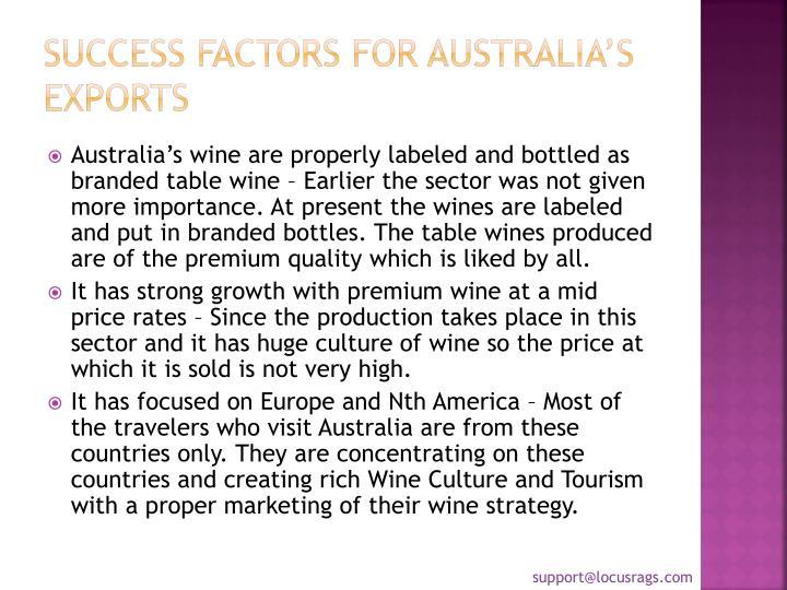Success factors for Australia's Exports